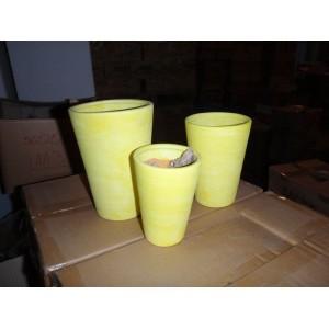 3dílná sada váz terr.3 vel. tm.žl/ 14-18cm