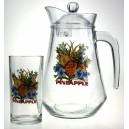 Nápojová sada 1+6pcs (1 džbán 1380ml +6 sklenic 250ml) design Ananas
