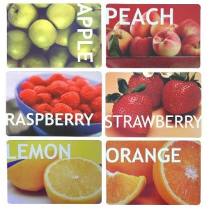 Prostírání ovoce 44x30cm / plast / Apple, Peach, Coffee