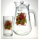 Nápojová sada 1+6pcs (1 džbán 1380ml +6 sklenic 250ml) design Kiwi
